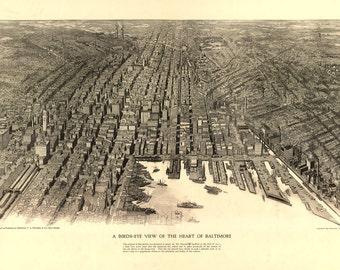 1912 Panoramic Map of Baltimore Maryland