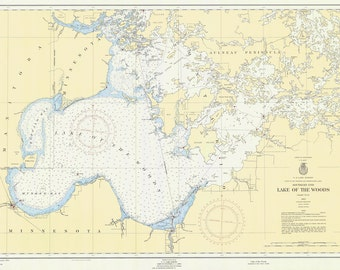 1955 Nautical Map Lake of the Woods Minnesota