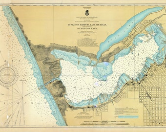 1901 Nautical Map of Muskegon Harbor & Lake Michigan