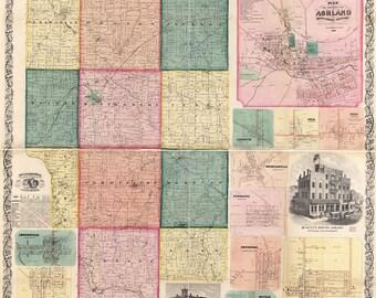 1861 Map of Ashland County Ohio Loudenville Ashland landowners reprint