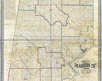 1860 Farm Line Map of Dearborn County Indiana