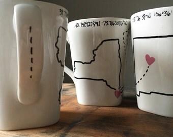 Miss You Mug || Long Distance Mug || States Mug ||Sisters Mug || Best Friend Mug || Birthday || Personalized Gift || Miles Gift || Adventure