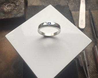Silver HEART Sapphire Ring