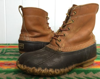 80's L.L.bean leather rubber boots rain boots made in usa womens size 8 hiking