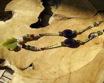 Necklace, necklace, Earth, earth, shamanic, shaman, druid, leaf, leaf, druidic, stone, stone, serpentine, murano