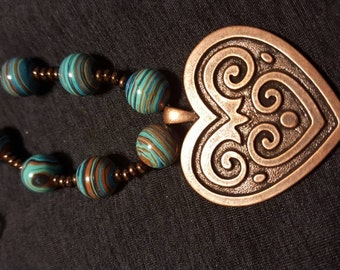 Copper and Turquoise Necklace and Earring set