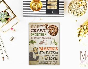 Vintage reptile Invite,Reptile Birthday Invitation / Reptile Invitation / Boys Birthday Invitation / Snake Party Invitation
