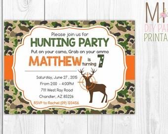 Deer Hunting Birthday Invitation,Deer Hunting Birthday Invitation,Hunting Birthday,Camo Birthday,Hunting Invitation, Deer Invitation