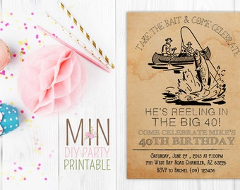 Vintage Fishing Invite 3,Fishing Invitation, Gone Fishing Birthday Party Invitation Digital Invitation, Fish Birthday Invitation