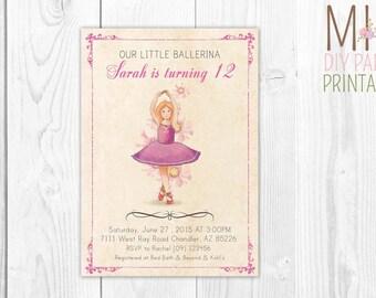 Ballet party invite card_3,Ballerina Birthday Invite,Tutu Invitation, Ballerina Birthday Invites,Ballerina Invite,Ballerina Invitation
