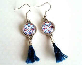 EARRINGS with cabochon and silk Pompom - PF4