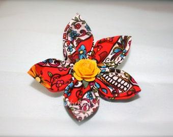Skull Print Flower Clip