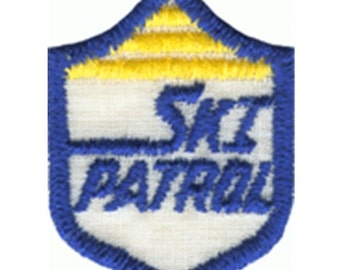 "1 7/8"" by 1 3/8"" Iron On SKi Patrol Patch Applique, Winter Christmas Sew On Patch w/ Free Shipping"