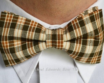 Brown Plaid Bow Tie, Adjustable Bow Tie, Pre-Tied Bow Tie, Brown Bowtie, Plaid Bowties, Mens Bow Tie, Mens Bowties, Bow Ties for Men, Prom