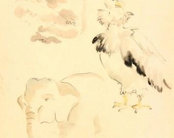 Vintage Watercolor Painting - Animal Study, C. 1920