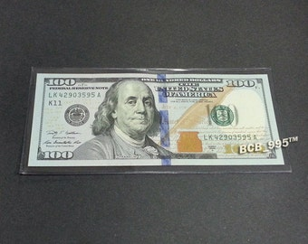 1 CURRENCY HOLDER Semi-Rigid for Regular Dollar Bills Note Bill Protector Sleeve Money Cash