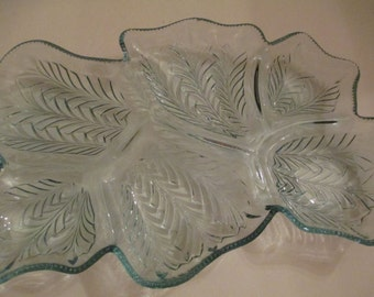 JEANETTE BLUE GLASS Relish/Antipasto Tray