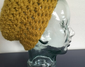 Yellow Crochet Beanie Hat