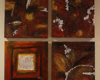 Abstract Quadriptych/4-12x12/mixed media painting