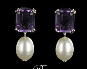 White Gold 18K modern amethysts beads earrings