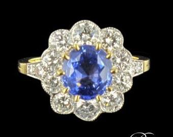 Blue sapphire ring yellow gold 18K Platinum 19th modern