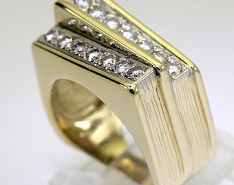 Mens diamond ring 14K yellow gold 14 round brilliant double row dimensional .80C