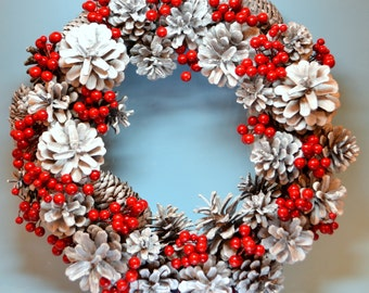 Christmas Holiday Wreath Snow-covered Cones with Red Berries