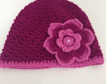 Baby girl purple crochet hat with pearl flower