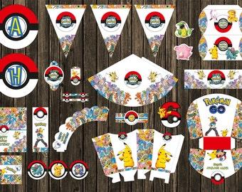 Pokemon GO- personalized party supplies- DIY- Pokeballs banner Centerpiece- Instant download- Pikachu- Pokemon- Pokemon printable
