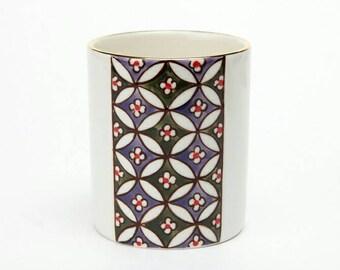 Hand painted 11oz mug - purple and olive green