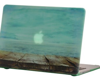 Macbook Air 13 inches Rubberized Hard Case for model A1369 & A1466, Endless Sea Design with Green Bottom Case, Comes with Keyboard Cover
