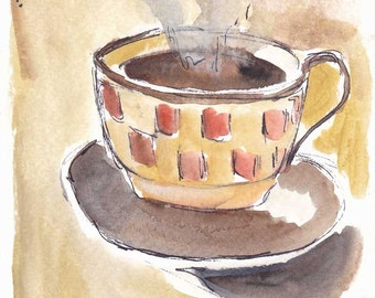 Coffee time original watercolor sketch painting