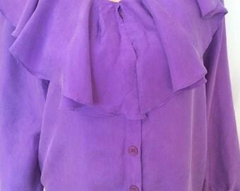 80's 90's Vintage Purple Silk Blouse Flowy Neckline blouse Sz M