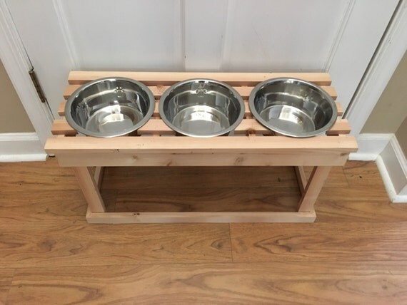 elevated wooden dog bowl stand pet feeder with 3 by. Black Bedroom Furniture Sets. Home Design Ideas