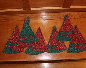 Set of 6 Christmas Cloth Napkins in Tree Shape