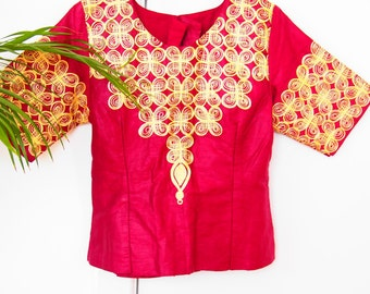 1970s Bohemian Embroidered Top