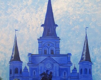 Blue St. Louis Cathedral (framed) 30 x 40 in.