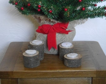 Set of 4 Log Candle Holders