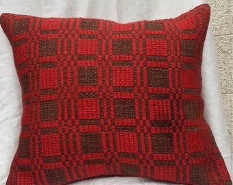 woven kilim pillow,authentic pillow,red color pillow,vintage pillow,sofa pillow,soft wool pillow,embroidery pillow '18x'16 inc  (02)