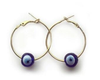 Handmade evil eye hoop earrings