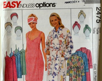 Uncut 1990s McCall's Vintage Sewing Pattern 2475, Size S, M, L; Misses' Robe, Spa Wrap, Headband, Headwrap, and Slippers