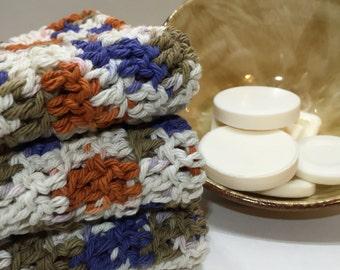 "Handmade cotton crochet washcloths (10""x10"")"