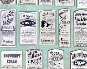 22 Vintage Beauty Cream Apothecary Labels -  2 A4 digital collage sheet - Instant Download