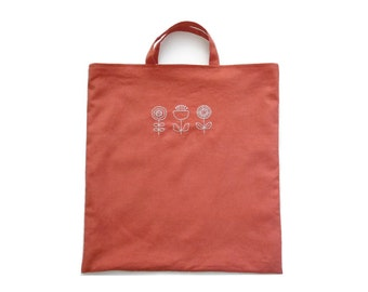 Hand Stitched Flowers Tote Bag (Rusted Orange)