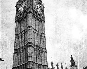 Big Ben: London, England, Black and White Photo, Great Bell,  Home Decor, Gift, 9x12 photo