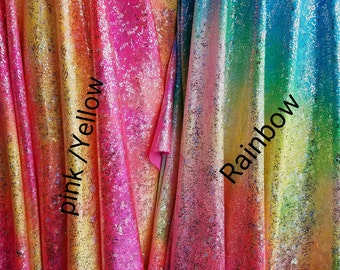 Nylon Spandex Stretch with Silver Matalic Hologram Tie Dye Foiled Designs Fabric Sold by the Yard