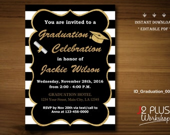 INSTANT DOWNLOAD Graduation Invitation Printable, Gold Graduation Invitation Instant Download, Party Template Invites, DIY Editable pdf