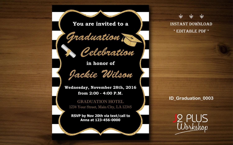 Instant download graduation invitation printable gold for Instant download invitations