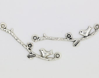 2 Antique Silver Bird on Branch Charms, Bird on Branch Pendant 39mm