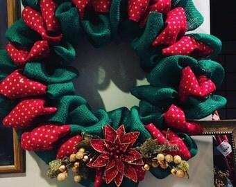 Red Green Burlap Christmas